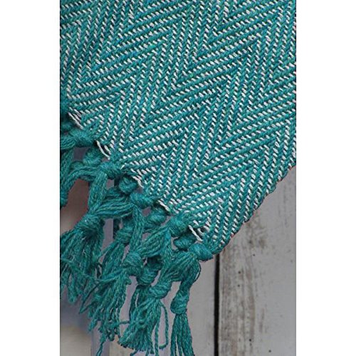 herringbone-design-luxurious-cotton-throw-sofa-bed-blanket-tassle-finish-quilt-225-x-254-cm-teal