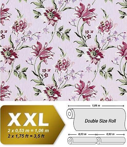 Blumen Tapete Vliestapete Landhaus Tapete EDEM 900-17 Floral Designer Textiloptik Pastell violett olive weiß 10,65 qm