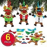 Baker Ross Kits de décorations Renne à Pull de Noël (Paquet de 6) - Loisirs créatifs de Noël pour Enfants...