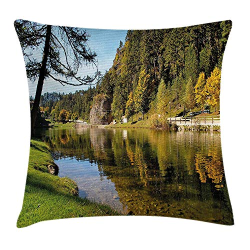 Nature Throw Pillow Cushion Cover, Magic Mountain Lake River Autumn Forest Hiking Shady Fall Tree Landscape, Decorative Square Accent Pillow Case, 18 X 18 Inches, Light Green Olive Blue
