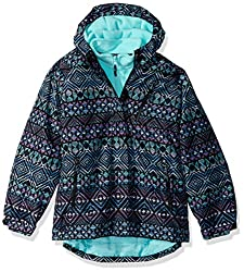 The Childrens Place Big Girls Printed 3-in-1 Jacket, Black, XS (4)