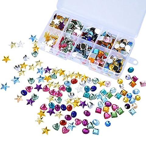 Outus 500 Stück Edelsteine Flatback Strasssteine Acryl Handwerk Juwelen Edelstein