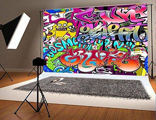 7x5 ft Microfiber Graffiti-Hintergrund Photo Booth Requisiten Musik Party Fotografie Hintergrund Kunst bunte Kulissen
