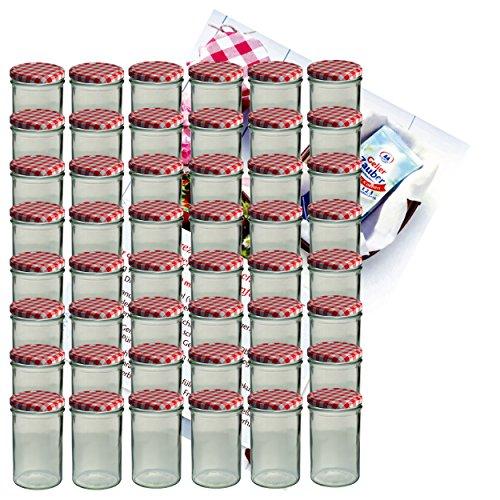 MamboCat 48er Set Sturzglas 435 ml Marmeladenglas Einmachglas Einweckglas to 82 rot Karierter Deckel Incl. Diamant-Zucker Gelierzauber Rezeptheft