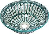 Orientalisches handbemaltes Keramik Waschbecken - Fez / Alcazar Keramik - Gemalt innen heraus Di 40 H 16 cm