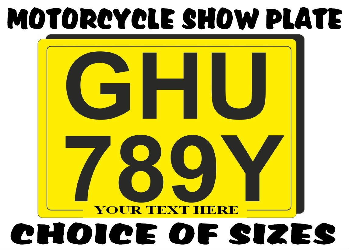 REAR NUMBER PLATE for Motorcycle SHOW PLATES (not road use legal ...