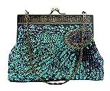 niceEshop(TM) Women's Retro Exquisite Peacock Pattern Beaded Evening Party Wedding Handbag, Blue