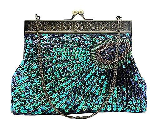 niceeshop(TM) Frauen Retro Pfau Vorzügliche Muster Perlen Abend Party Hochzeit Handtasche, Pafu Blau (Zusammen Pailletten-kleid)