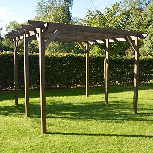 Rutland County Garden Furniture Wooden Garden Structure Pergola 4.2m x 4.2m - Sculpted Rafter (Rustic Brown)