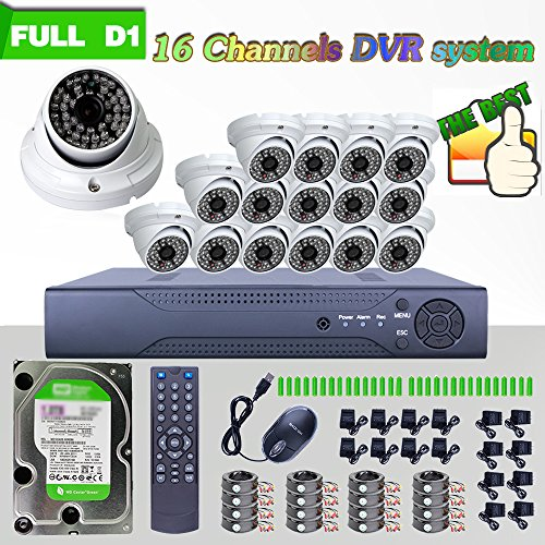 ANRAN 16CH H.264 Real-time Full-HD-Überwachungskamera-System, D1, DVR, mit IR-CUT Geschenkband 1200TVL Kamera Nachtsicht Überwachungskamera Outdoor Security-Kamera mit 2000GB Festplatten vorinstalliert