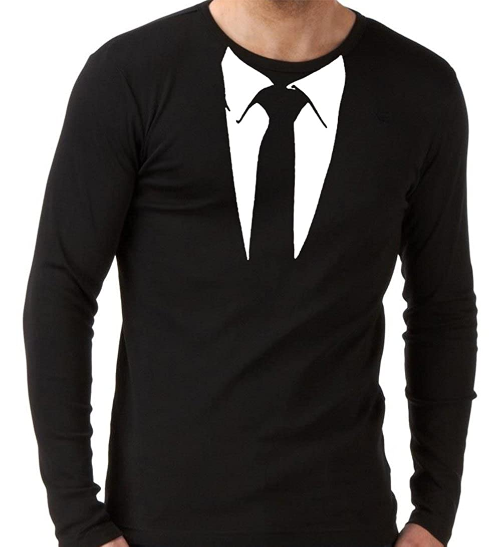 Black t shirt amazon - Suit And Black Tie Long Sleeve T Shirt Funny Stag Fancy Dress Party Amazon Co Uk Clothing