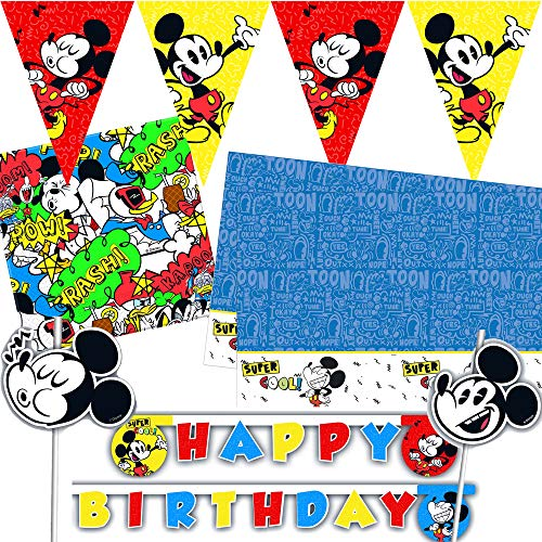 (Procos/Carpeta 72-TLG. Deko-Set * Micky Wimpelkette + Tischdecke + Trinkhalme u.v.m. | Kinder Kindergeburtstag Party Motto Disney Mickey Mouse Comic)