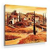 Mia Morro Mediterran Toskana Bild B180, 1 Teil 80x80cm Leinwand auf Holzrahmen aufgespannt, FineArt Print, UV-stabil und wasserfest, Kunstdruck für Büro oder Wohnzimmer, Deko Bild
