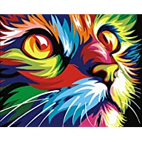Paint by Numbers with Frame or Not, New Release Diy Oil Painting by Numbers Kits - Painted Cat Head 16*20 inches Linen Canvas - Digital Oil Painting Canvas Kits Junior for Adults Children Kids with 3X Magnifier - Wall Art Artwork Landscape Paintings for Home Living Room Office Picture Decor Decorations Gifts Diy Paint by Numbers Diy Canvas Kit for Advanced Seniors