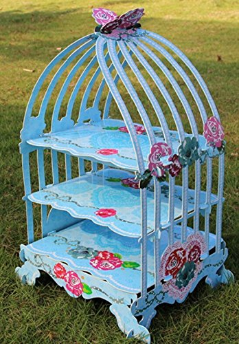 3-Tier-Birdcage Form Cupcake Display Ständer aus Karton (blau Rose) ()