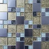 30 cm x 30 cm Carrelage mosaïque en verre et acier inoxydable brossé. Lisse et texturé surface mosaïque carrelage en Or, argent et blanc (MT0166)