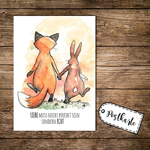 ilka-parey-wandtattoo-welt-a6-postkarte-karte-print-fuchs-und-hase-mit-spruch-liebe-muss-nicht-perfe