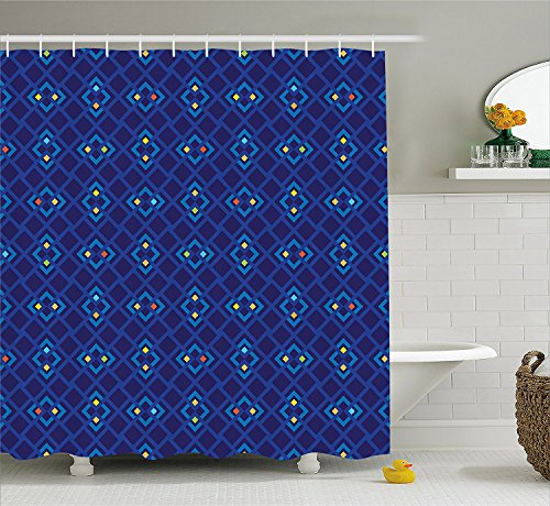 ADAM MARTINEZ JR Navy Blue Decor Shower Curtain, Geometric Mosaic Square Patterned Colorful Abstract Art Design, Fabric Bathroom Decor Set with Hooks, 75 inches Long, Blue Orange and Yellow -
