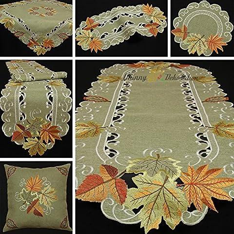 Hojas de otoño Camino de mesa–Mantel (funda de cojín (aspecto de lino verde beige, poliéster, 40 cm x 90 cm