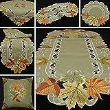 Herbst Blätter Tischdecke Mitteldecke Tischläufer Kissenhülle Leinen-Optik Grün Beige - Größe wählbar (ca. 60 cm Rund)