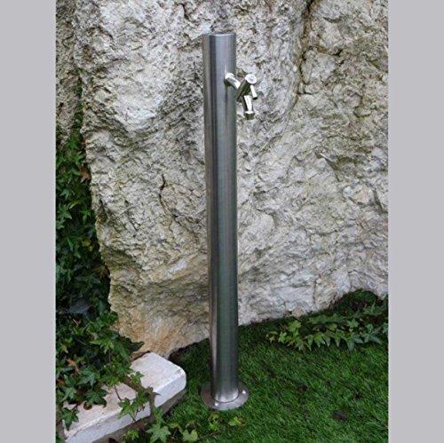 Edelstahl Wassersäule Tavolazza inkl.Gussmessing-Wasserhahn & Edelstahlschrauben zur Bodenbefestigung | rund | 90 cm Höhe Wasserhahn