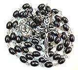 Schwarz Hämatit oval Perlen katholischen Rosenkranz Halskette mit Jerusalem Boden Kreuz Kruzifix in Geschenk Box