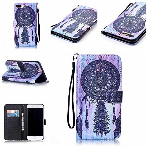 """Ooboom® iPhone 7 4.7"""" Coque PU Cuir Flip Housse Étui Cover Case Wallet Stand avec Carte de Crédit Fentes Dragonne - Have a nice day Attrapeur de Rêves Noir"""