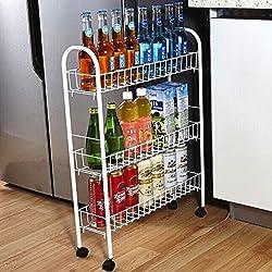 Seasofbeauty Chariot à roulettes Rangement Organiseur Desserte de Cuisine Étagère Multifonction (3 étages)