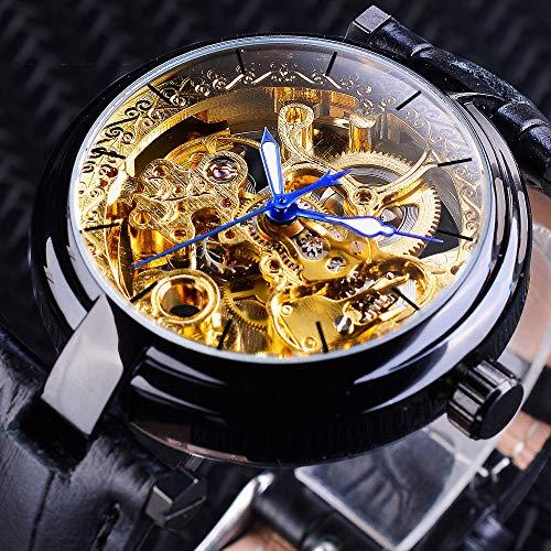 Liandd Mode schwarz goldene Skelett Uhren blau leuchtende Zeiger echte Herren mechanische Armbanduhr wasserdichte Uhr,Black Golden (Damen Fossil Skelett-uhr)