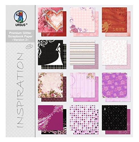 Ursus 70360099 - Premium Glitter Scrapbook paper Block 2, ca. 30,5 x 30,5 cm, 12 Blatt sortiert in 12 Motiven