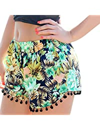 QIYUN.Z Playa Del Verano De La Borla De Las Mujeres Del Dobladillo De Flores Impresas Pantalones Cortos Pantalones Cortos Ocasionales Calientes