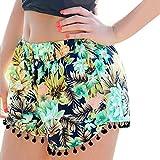 La Playa Del Verano De La Borla De Las Mujeres Del Dobladillo De Flores Impresas Pantalones Cortos Pantalones Cortos Ocasionales Calientes