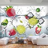 decomonkey Fototapete selbstklebend Küche Obst 343x256 cm XL Selbstklebende Tapeten Wand Fototapeten Tapete Wandtapete klebend Klebefolie grün weiß Zitrone Erdbeere Wasser EIS FOA0075a73XL