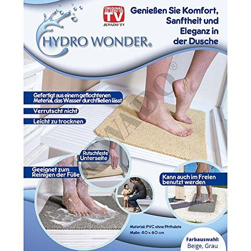 Hydro Wonder® - Alfombrilla antideslizante de lujo para bañera y ducha, 40x 60cm, en color beige o gris, producto original anunciado en la televisión alemana, beige, 40 x 60 cm