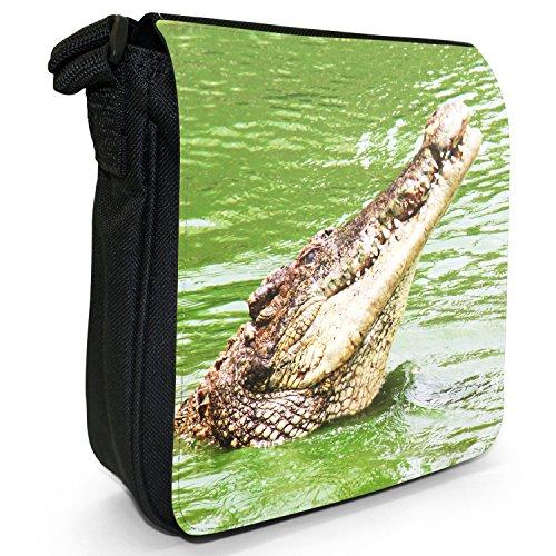 Caimani, coccodrilli &-Borsa a tracolla in tela, colore: nero, taglia: S Head Of A Crocodile