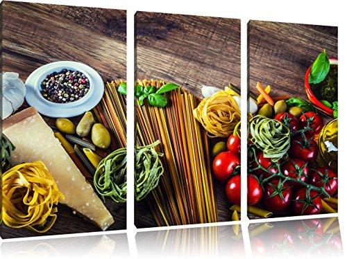 Pasta Italia mit frischen Tomaten und Gewürzen 3-Teiler Leinwandbild 120x80 Bild auf Leinwand, XXL riesige Bilder fertig gerahmt mit Keilrahmen, Kunstdruck auf Wandbild mit Rahmen, gänstiger als Gemälde oder Ölbild, kein Poster oder Plakat