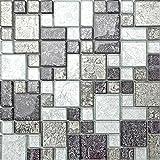 1qm Glas Mosaik Fliesen Matte Schwarz und Silber mit Steinen in Drei Größen (MT0044 m2 DE)