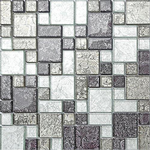 Black & Silver Hong Kong Foil Glass Mosaic Tiles Modular Mix Sheet (MT0044) (1 Sheet)