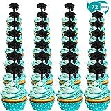 Zonon Graduación Cupcake Toppers de plástico Graduation Food Toothpick Toppers Aperitivo Selecciones para 2019 Suministros de Fiesta de graduación(72 Piezas)