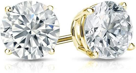 1 Ct Runde Simulierte Diamant Ohrstecker Echt 14 Karat Gelbes Gold Brilliant Cut Screw Back