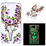 Pour Huawei Y5 2017 Coque,Coffeetreehouse [Noctilucent] Coque Etui Silicone Slim Transparente Gel TPU Bumper Anti Poussiere Resistance Anti-rayures Case Cover Couverture Pour Huawei Y5 2017 - cerf