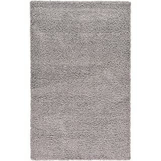 Cozy Shag Collection Solid Shag Rug Contemporary Living & Bedroom Soft Shaggy Area Rug, 120X170 CM - 3'9''X5'5'' FT Silver Carpet