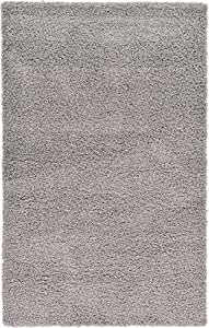 """A2Z Rug ( 120x170 cm (4ft x 5ft8"""") Silver ) Cozy Shag Collection Solid 5.5 cm Pile Shag Rug Contemporary Living & Bedroom Soft Shaggy Area Rug, Carpet"""