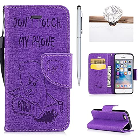 iphone 5/5s/SE Cover, Felfy Flip iphone 5/5s/SE Cover Case, iphone 5/5s/SE Wallet Folio Premium Leather Cover Embossed Cartoon Bear Pattern with Stand Function and Wrist Strap Case, Flip Book Style Magnet Closure Pouch Protective Cover for Apple iphone 5/5s/SE + 1 Silver Stylus Pen + 1 Dust Plug(Color is Random).Purple