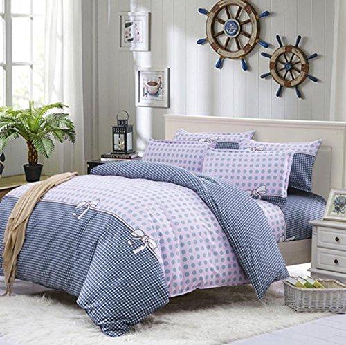 SHIQUNC bettwäsche könig Größe 100% Baumwolle Ebene Gefärbt Schlafzimmer Set Duvet Set 4 stücke 1 bettbezug, 1 bettwäsche, 2 Kissenbezüge, 5, Königin -