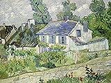 Artland Qualitätsbilder I Bild auf Leinwand Leinwandbilder Wandbilder 120 x 90 cm Landschaften Europa Frankreich Malerei Grün B6GT Häuser in Auvers 1890
