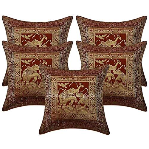Algodón Brocade Auto Diseño Marrón 16x16 Cojín Étnico Cubierta Elefante Decorativo Cuadrado Conjunto De 5