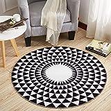 KK&MM Stilvoller schwarzer und weißer runder Wohnzimmer-Couchtisch-großer Teppich (Größe: 160CM), A, 120cm