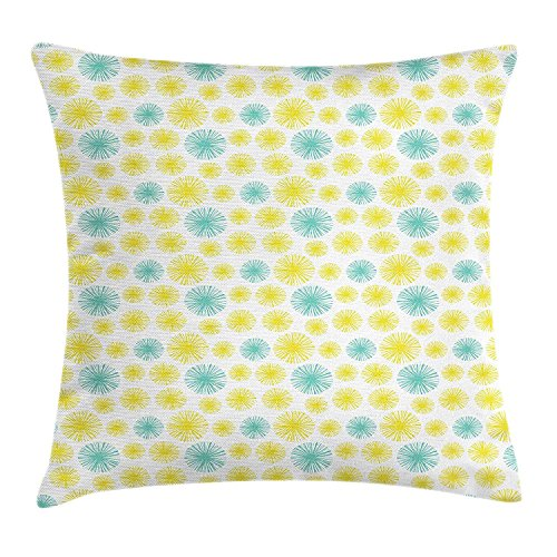 Blue Suede Fringe (VTXWL Vintage Throw Pillow Cushion Cover, Colorful Dandelion Inspired Circular Fringe-Like Shapes Illustration, Decorative Square Accent Pillow Case, 18 X 18 Inches, Pale Blue and Yellow)