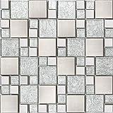Silver Brushed Stainless Steel & Silver Asian Pattern Modular Mix Mosaic Tiles Sheet (MT0048) (1 Sheet)